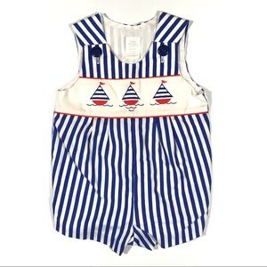 Vintage Onesie Outfit Nautical Sailboats 6-9 M Top
